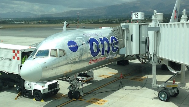 American Airlines Boeing 757 in OneWorld livery, at Quito airport.