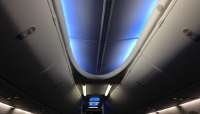 Mood lighting, part of the Boeing Sky interior on Copa Airlines Boeing 737-800.