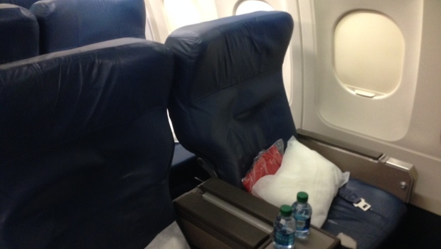 First class seating on Delta Air Lines Airbus A320.