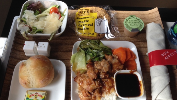 Airline food: Tasty airline meal lunch in first class on Delta Airlines Airbus A320.