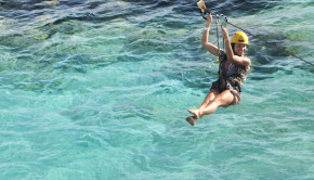 Zip  lining at Garrafon, on Isla Mujeres, Mexico.