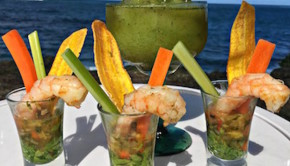 Tequila Grilled Shrimp Shooter at the Condado Plaza Hilton in Puerto Rico.