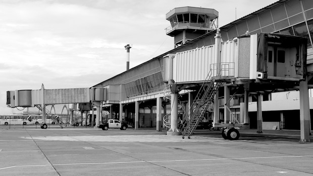 Airside view of the empty terminal at the old Quito airport.