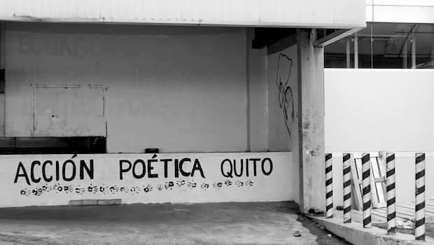 Artistic messages on the abandoned terminal at the old Quito airport.