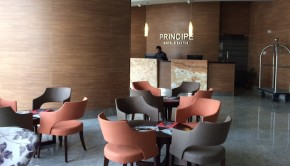 Lobby and reception at Principe Hotel & Suites in Panama City, Panama.