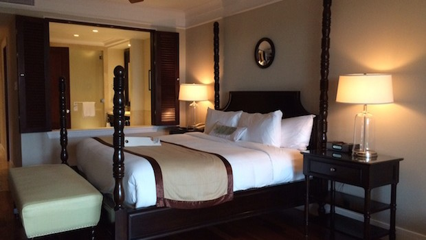 I loved the four-poster bed at the JW Marriott Panama hotel.