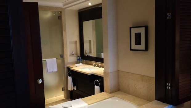 Guest bathroom with natural light at the JW Marriott Panama resort.