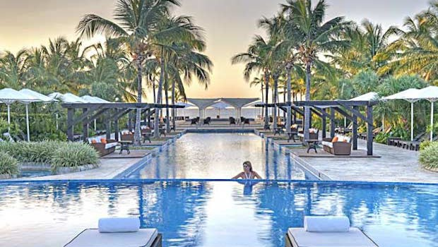 Pool and beach club at the JW Marriott Panama resort.