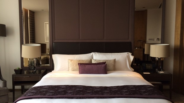 King size bed in my Grand Deluxe room at St. Regis Mexico City.