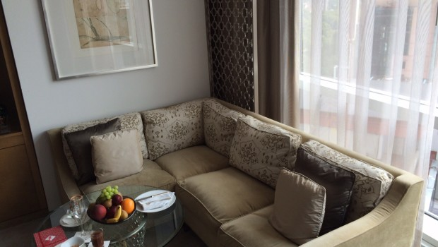 Guest room seating are at in my room at St. Regis Mexico City.