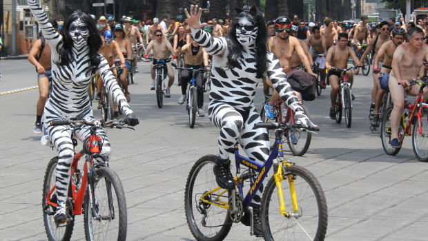 Impressive body paint on cyclists at the World Naked Bike Ride in Mexico City