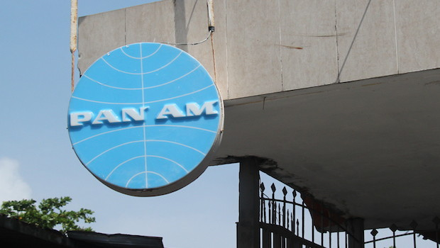 Vintage Pan Am sign (still up in 2015) in Colon, Panama.