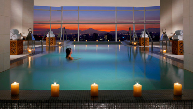 The indoor pool at the St. Regis Mexico City hotel offers great city views.