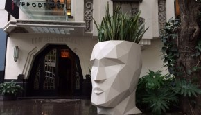 Modern art contrasts with classic architecture at Hotel Hippodrome in Mexico City.