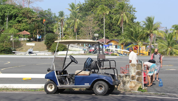 Golf carts are the best way to get to the airport on Isla Contadora, Panama.