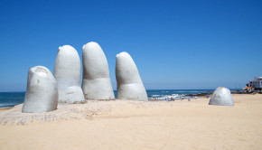 The famed hand sculpture of Punta del Este, Uruguay.