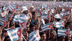 Rally celebrating Elian Gonzalez' return to Cuba, June 2000. PHOTO: Cynthia Carris