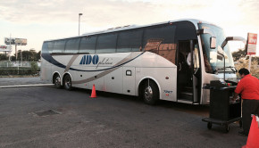ADO Platino bus, ready for boarding in Merida, Mexico.