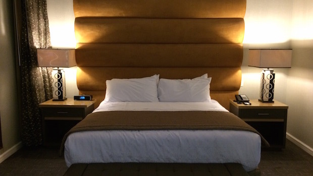My king-size bed at Royal Sonesta Panama hotel.