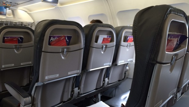 Airline seats: Avianca Airbus A321 airline seating in economy class.