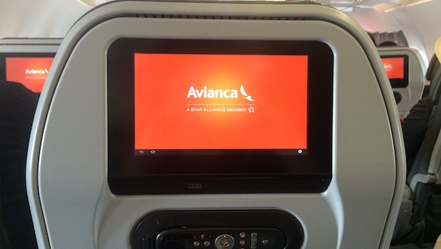 Inflight entertainment system on an Avianca Airbus A320.