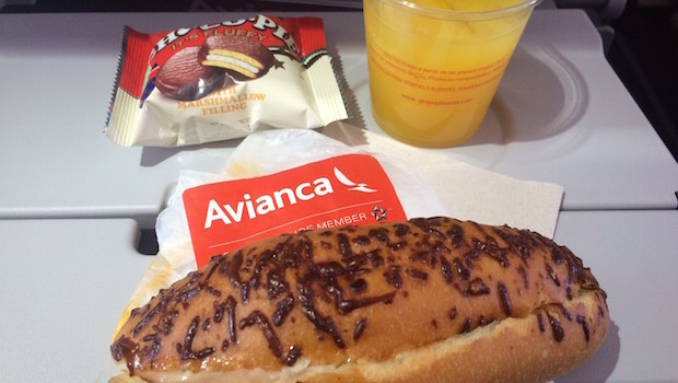 Airline meal: Avianca serves free airline food for lunch.