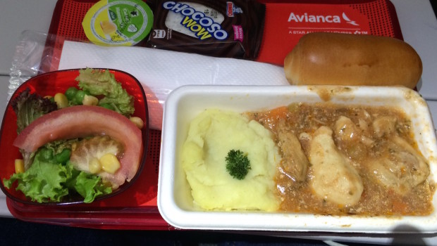 Airline food in economy class on Avianca Boeing 787 Dreamliner.