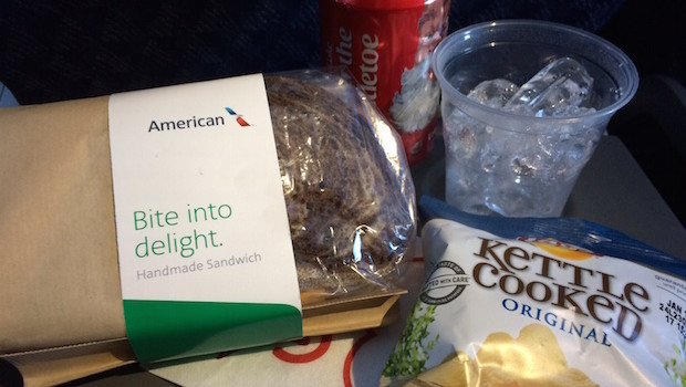 Airline food: American Airlines airline meals on board a Boeing 737.