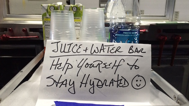 Nice touch: American Airlines encourages hydration on board.