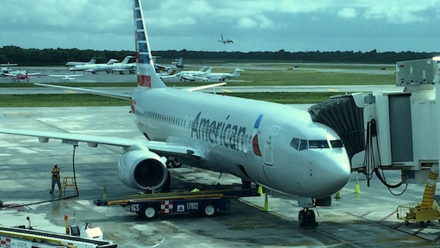 American Airlines Boeing 737 at Cancun airport.