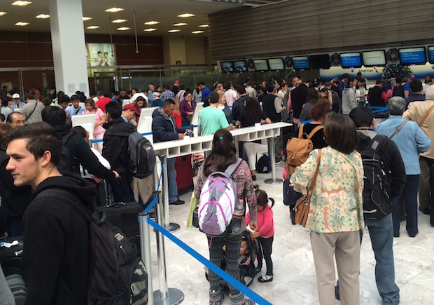 American Airlines bag drop line at Mexico City airport.