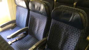 Airline seating on an American Airlines Boeing 737 in Mexico City.