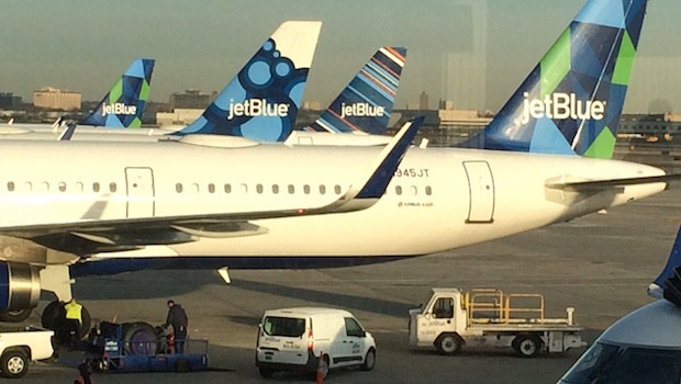 JetBlue aircraft at JFK airport in New York City.