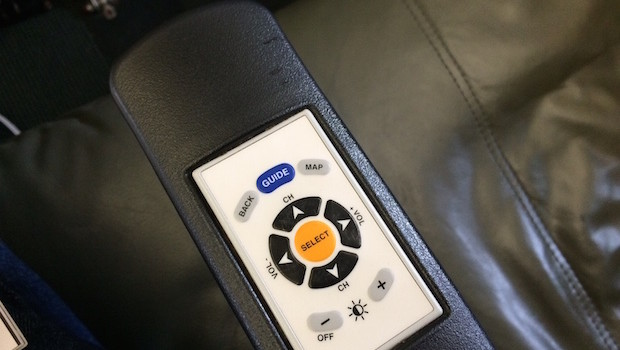 Armrest controls on JetBlue Airbus A320.