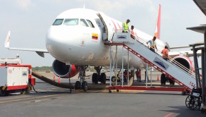 Avianca Airbus A321 at Cartagena airport in Colombia.