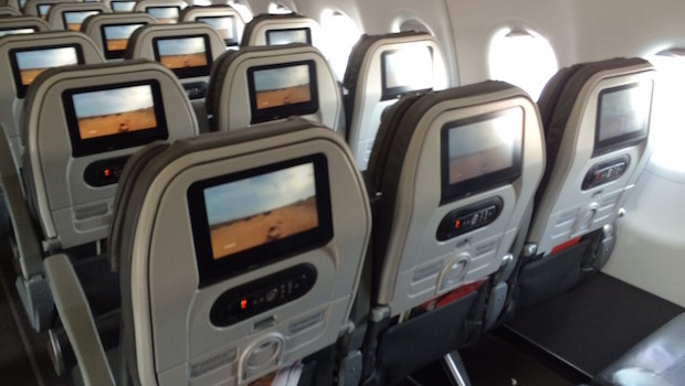 Airline seating and inflight entertainment on Avianca Airbus A321.