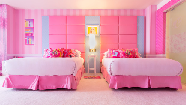 Pink is the dominant theme in the Barbie Room at Hilton Panama.