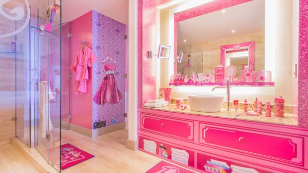 The bathroom in the Barbie Room at Hilton Panama.