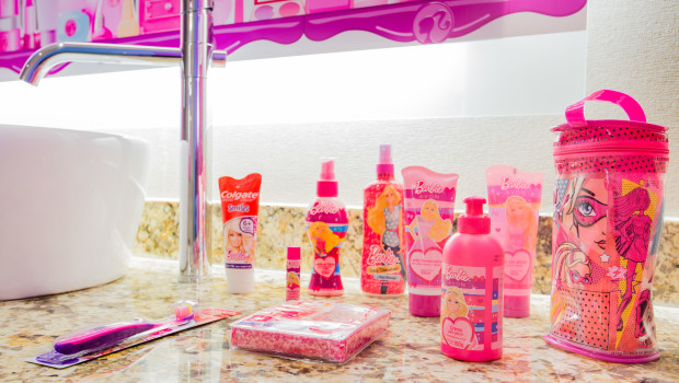 Bath amenities at the Barbie Room at Hilton Panama.