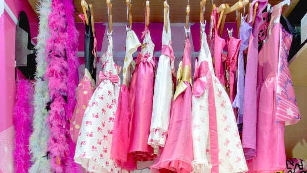 Barbie doll style dresses at the Barbie Room at Hilton Panama.