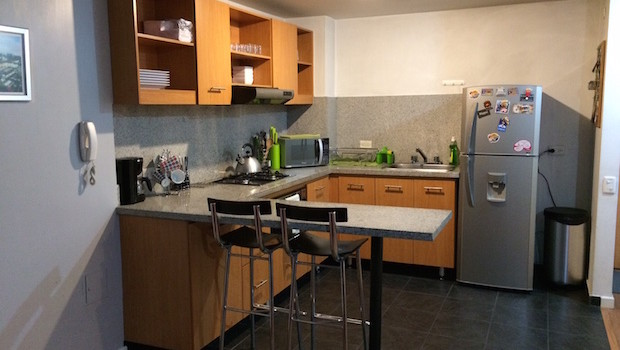 Full kitchen at the Airbnb apartment rental where I stayed in Bogota.