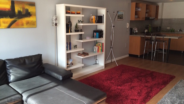 Living area, bookshelf and kitchen at Airbnb apartment rental.