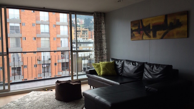View from the living room at Airbnb apartment rental in Bogota, Colombia.