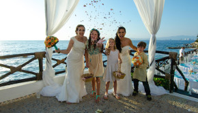 Festive same-sex wedding at CostaSur Resort & Spa in Puerto Vallarta.