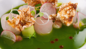 Green Ceviche Pozole at St. Regis Punta Mita Resort in Mexico.