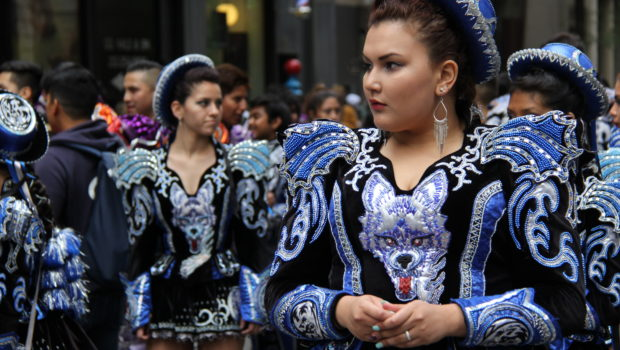 Caporales Bolivian dancers at the New York City Dance Parade.