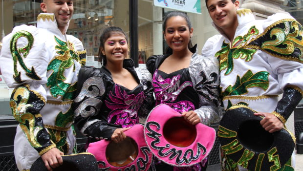 Caporales Bolivian clothing at the New York City Dance Parade.