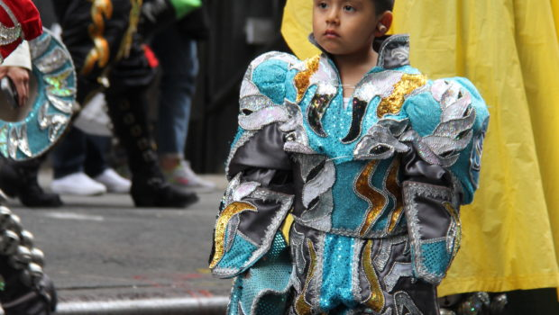 Caporales Bolivian dancer at the New York City Dance Parade.