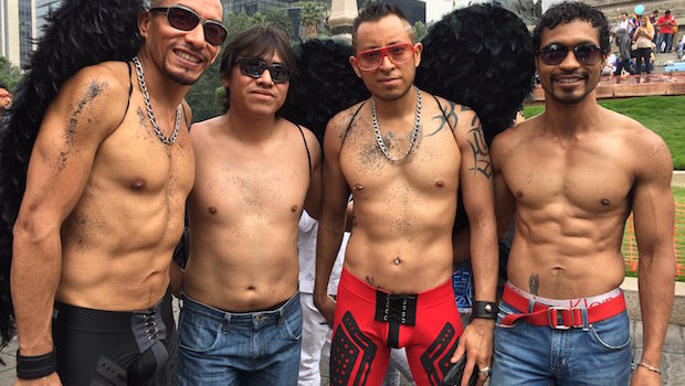 Handsome revelers at Mexico City LGBT pride parade.