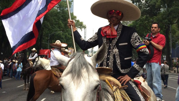 Gay vaqueros (cowboys) in the LGBT pride parade in Mexico City.